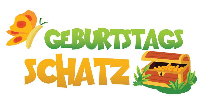 Geburtstagsschatz Logo. Schriftzug mit Schmetterling und Schatztruhe im Comicstil.