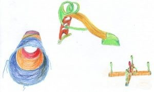 Zeichnung Rutsche, Kriechtunnel, Ringe werfen