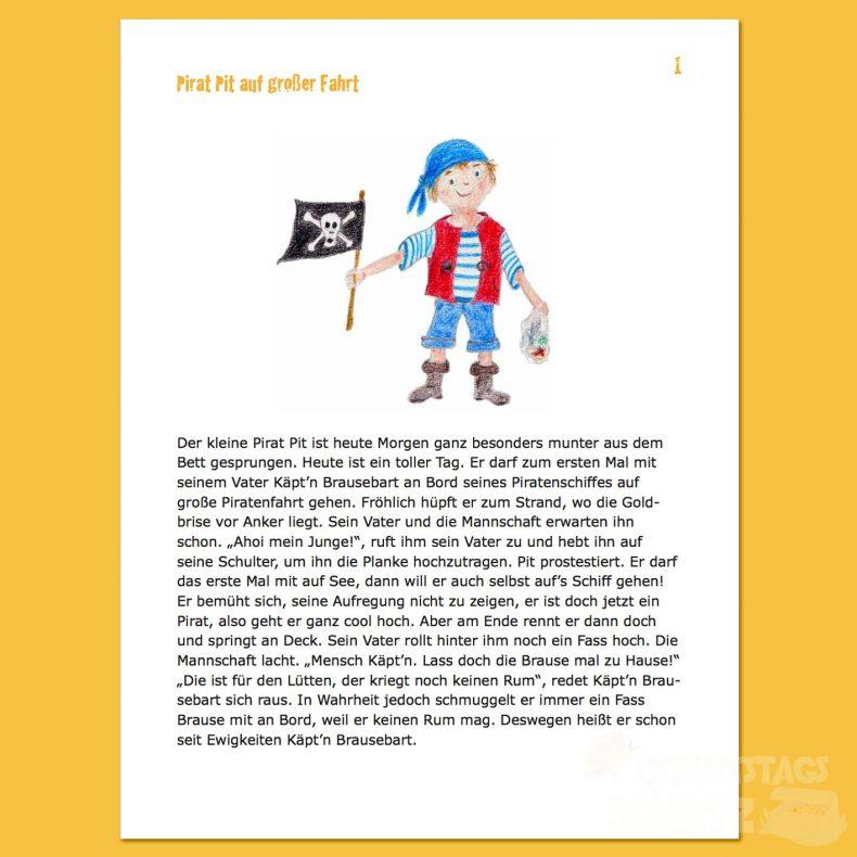 Erste Seite der Piraten-Schatzsuche