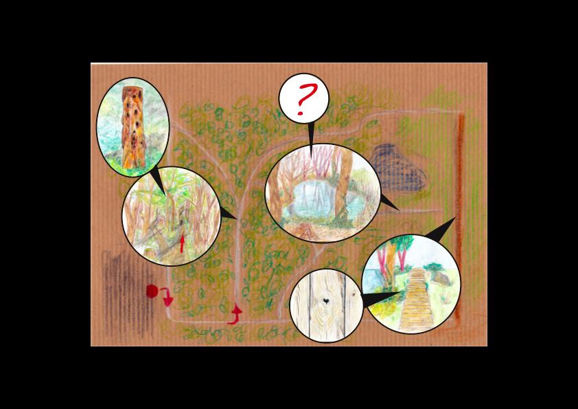 Schatzkarte mit mehreren illustrierten Ausschnitten.