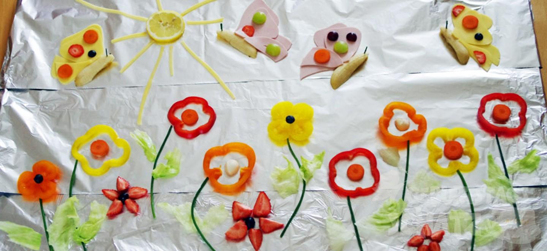 Schmetterlingswiese aus Obst und Gemüse