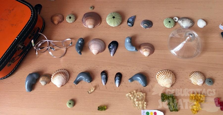 Muschel-Reihen-Rätsel und Gummibärchen-Rätsel auf dem Schreibtisch durcheinander.