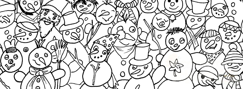 Ausschnitt aus eine Schneemann-Wimmelbild.