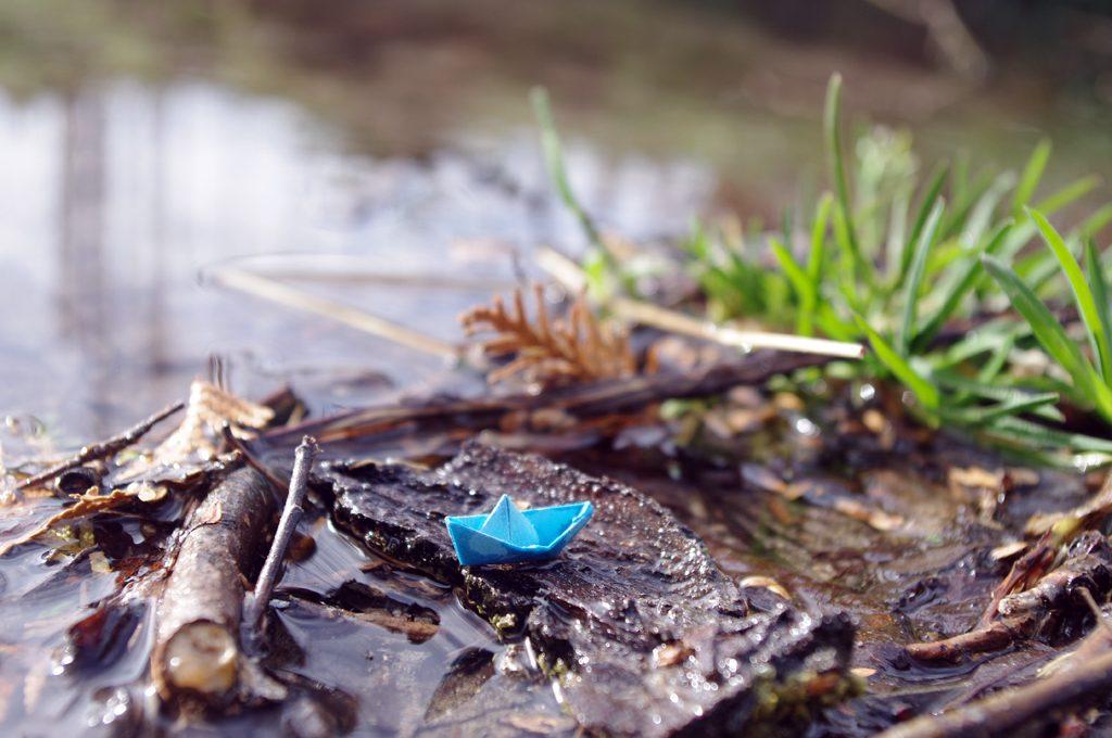 Ein kleines blaues Papierboot auf einem Stück Rinde in einem Bach. Links daneben ein abgebrochener Zweig, schräg rechts dahinter unscharf etwas Gras.