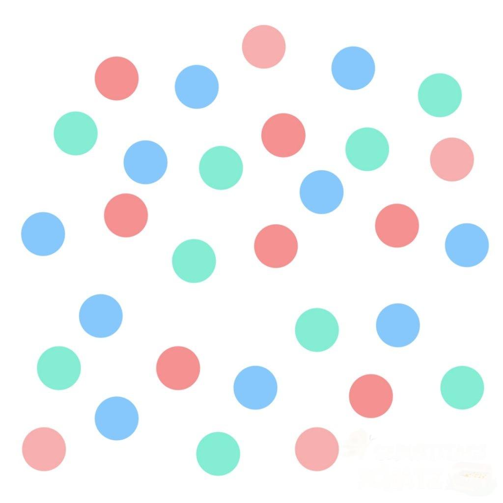Rote, grüne und blaue Punkte, zufällig verteilt.