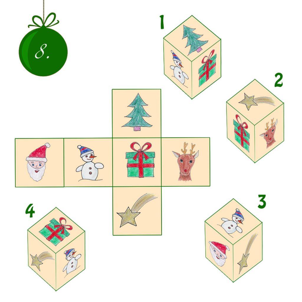 Eine Würfelvorlage mit Weihnachtsmann, Schneemann, Geschenk, Elch in der Mitte, oben Tanne und Stern. Daneben 4 Würfel, von denen einer die Motive passend zusammengeklappt zeigt.