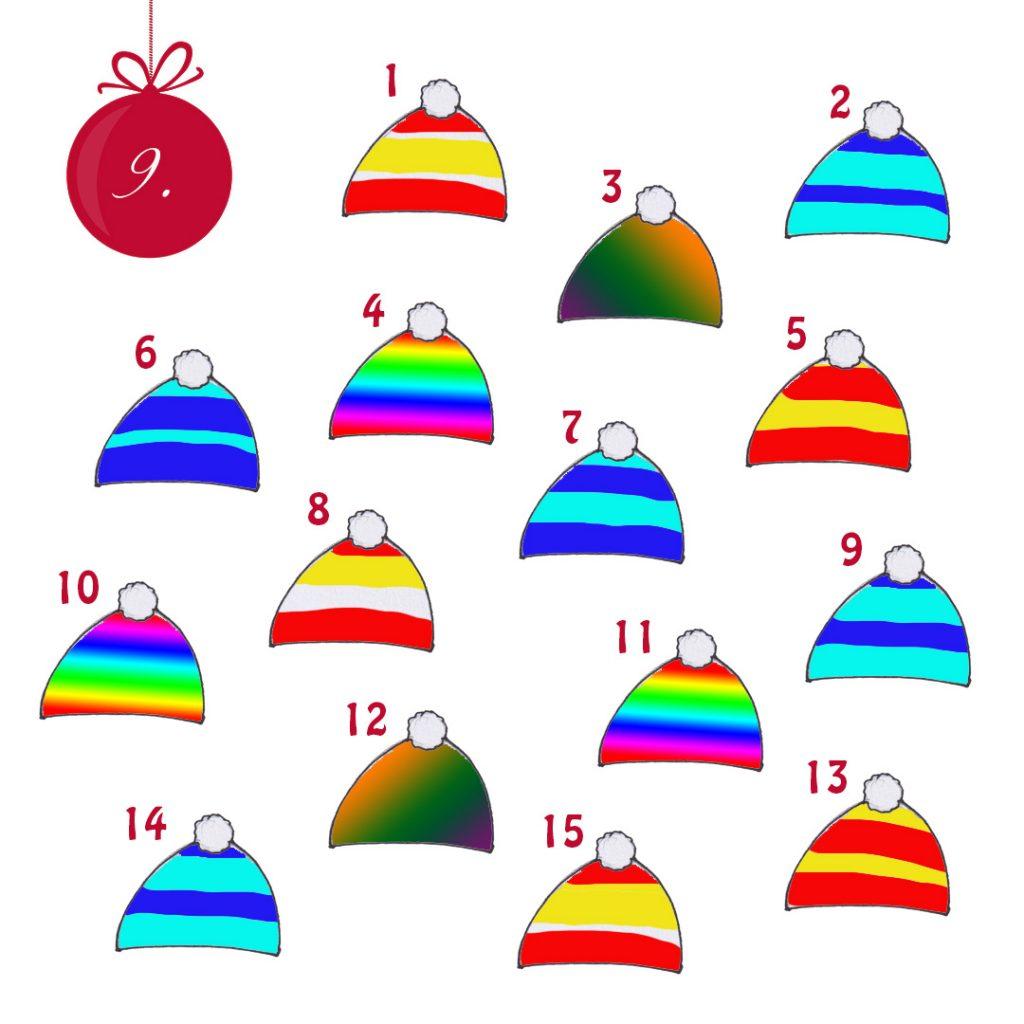 14 Mützen mit verschiedenen Mustern. Nur 2 davon sind genau gleich. Neben jeder Mütze steht eine Zahl.