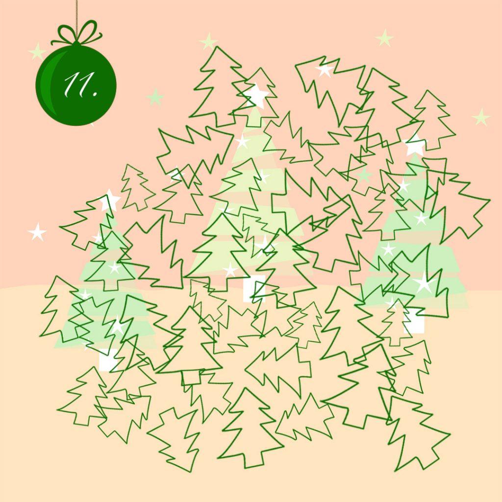 Outlines von vielen Tannen in unterschiedlicher Größe kreuz und quer übereinander.  Oben links eine Grafik einer dunkelgrünen Tannenbaumkugel mit einer weißen 11.