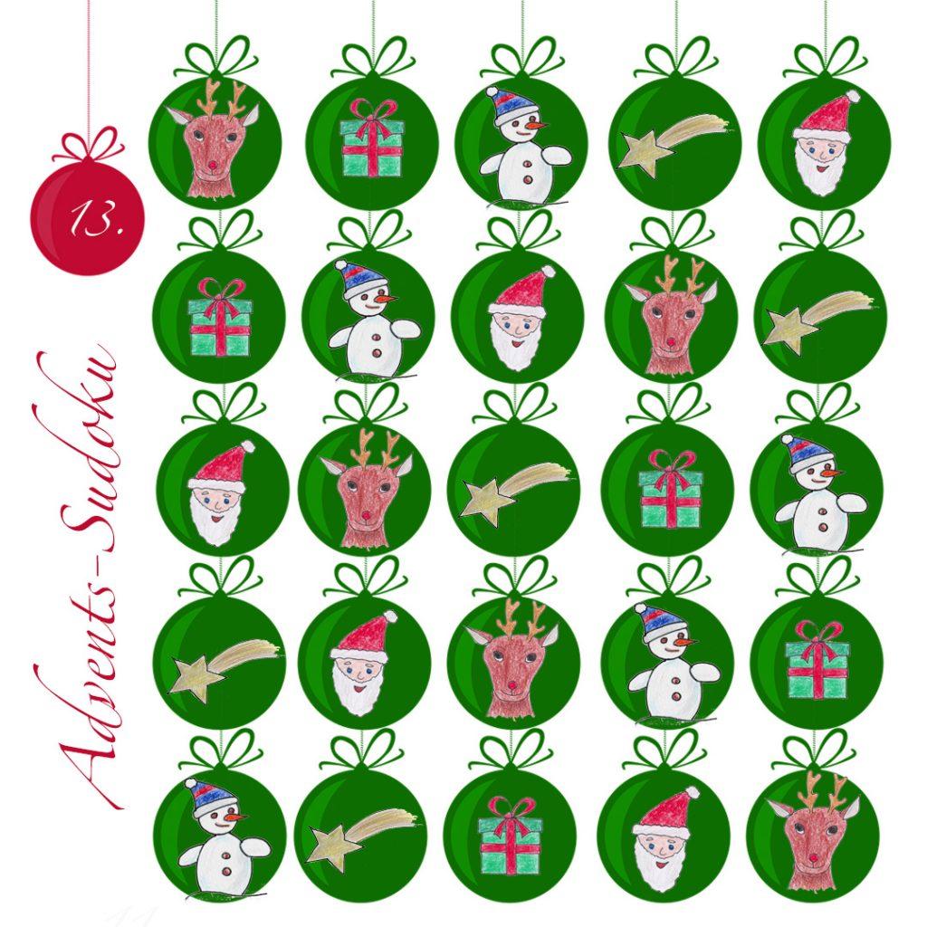 gelöstes 5x5 Sudoku mit Weihnachtsbildern statt Zahlen.