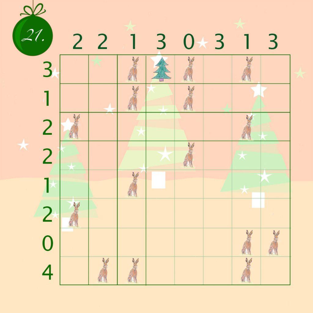 Logik Rätsel mit 8 Zeilen und 8 Spalten.