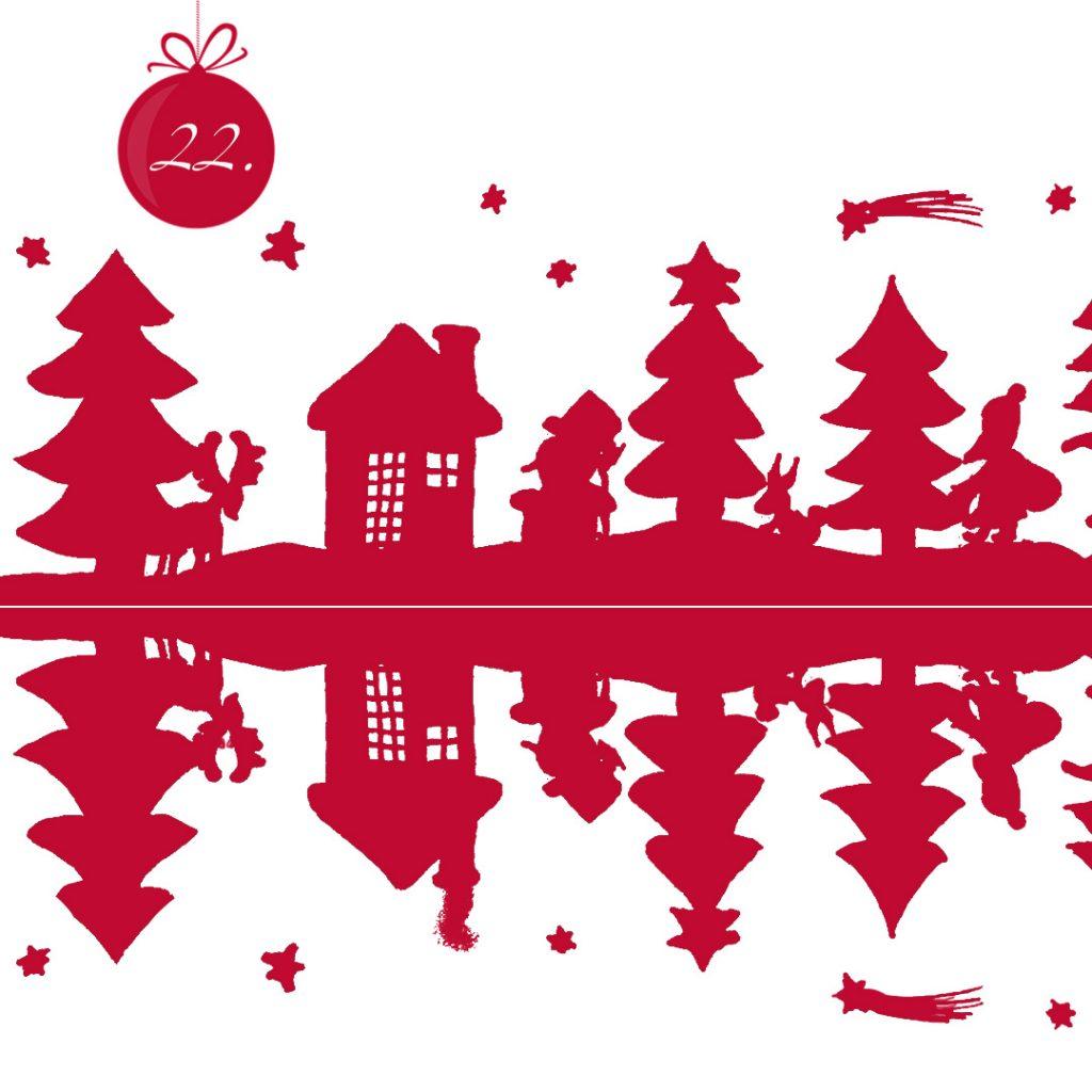 Ooter Schattenriss einer Winterlandschaft mit Tannen, Haus, Rentier, Schneemann, Hase und Weihnachtsmann. Das Bild wird vertikal gespiegelt und hat dort Fehler.