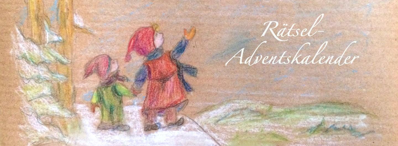 """Buntstiftzeichnung auf Craft-Papier: Zwei Kinder stehen auf einem Schneeberg und zeigen in den Himmel. Dort steht in weißer Schrift """"Rätsel-Adventskalender"""""""