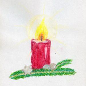 Buntstift-Zeichnung einer brennenden Kerze auf einem Tannenzweig.