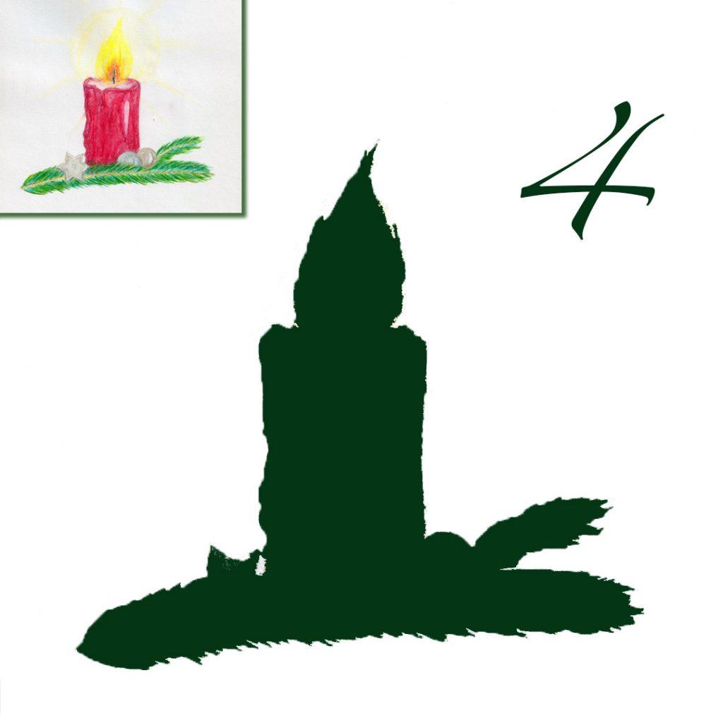 Rechts oben in der Ecke eine brennende Rote Kerze auf einem Tannenzweig. Groß darunter ihr Schattenumriss. Oben rechts in der Ecke steht eine 4.