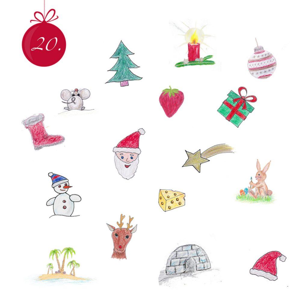 Ein Bild voller gezeichneter Symbole. Tannenbaum, Adventskerze, Christbaumkugel, Maus, Erdbeere, Geschenk, Nikolausstiefel, Weihnachtsmannkopf, Sternschnuppe, Schneemann, Käse, Osterhase, Palmeninsel, Rentierkopf, Iglu, rote Pudelmütze.