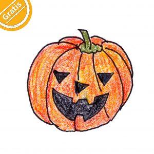 """Buntstift-Illustration: Halloween-Kürbis. Oben links in Ecke ein halber Kreis mit dem Wort """"Gratis""""."""