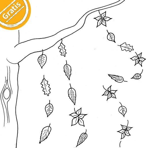 """Strichzeichnung verschiedener, in Reihen vom Baum fallender Blätter. Oben links in Ecke ein halber Kreis mit Text """"Gratis""""."""
