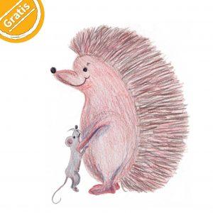 """Bunstift-Illustration: großer Igel steht auf Hinterbeinen, umarmt sehr kleine, stehende Maus. Oben links in Ecke ein halber Kreis mit Text """"Gratis""""."""