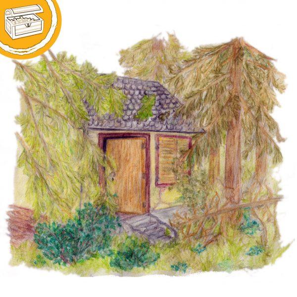 Illustration: altes, verfallendes Haus im Wald. Symbol oben links: Halber Kreis mit einer Schatztruhe.