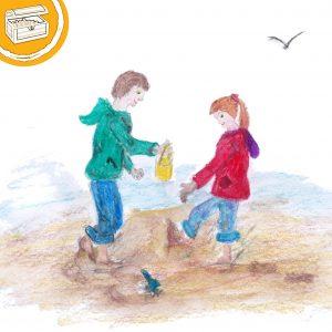 Illustration: zwei Kinder stehen barfuß im Watt. Symbol oben links: Halber Kreis mit einer Schatztruhe.