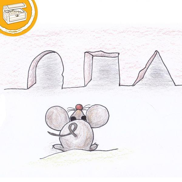"""Zeichnung: Maus von hinten, guckt auf 3 verhiedene Mäuselöcher. Rund, eckig und dreieckig. Symbol oben links: Halber Kreis mit Text """"Gratis"""".."""