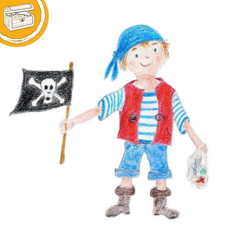 Buntstift-Illustration: Kleiner Pirat mit blauem Kopftuch und roter Weste. In einer Hand eine Schatzkarte, in der anderen eine Piratenflagge. Symbol oben links: Halber Kreis mit einer Schatztruhe.