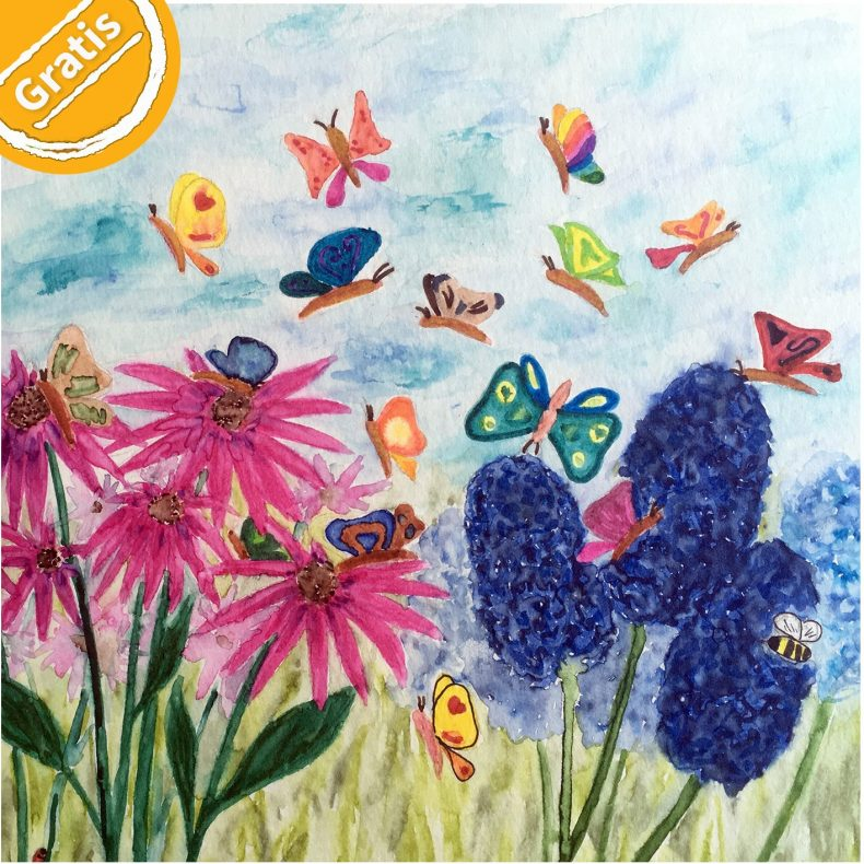 """Illustration: Bunte Blumenwiese mit Fantasie-Schmetterlingen. Symbol oben links: Halber Kreis mit Text """"Gratis""""."""