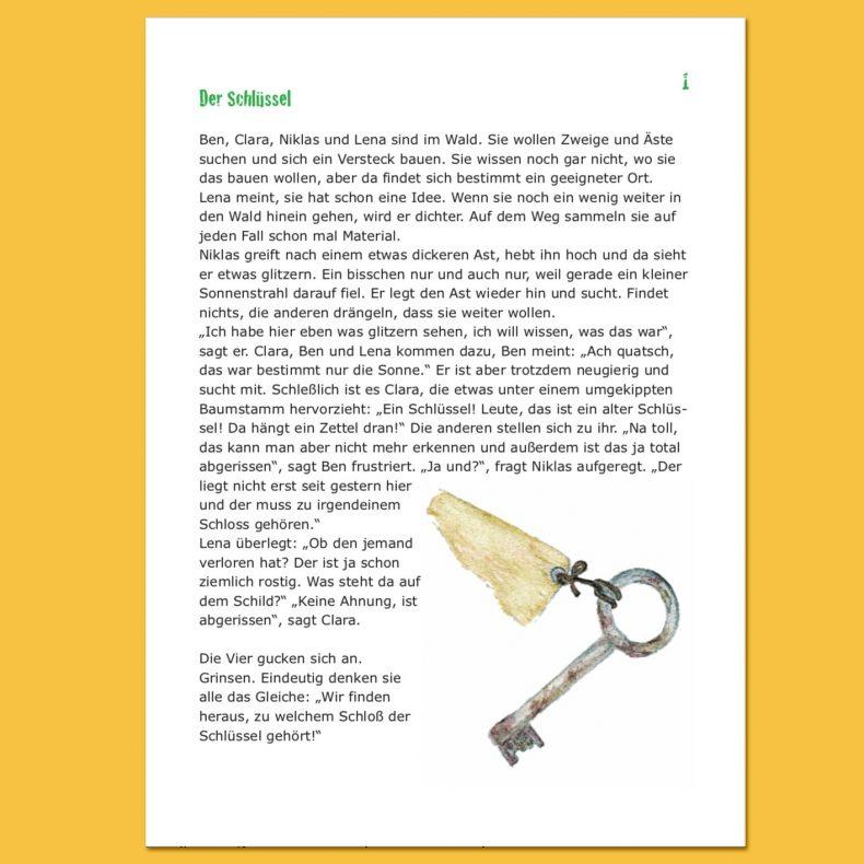 """Titelseite der Schatzsuche """"Der Schlüssel"""". Text mit einer Zeichnung eines verrosteten Schlüssels."""