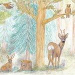 Buntstift-Illustration Wald mit Hase, Reh, Fuchs, Eichhörnchen, Eule, Vogel.