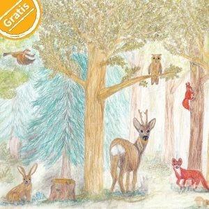 """Buntstift-Illustration Wald mit Hase, Reh, Fuchs, Eichhörnchen, Eule, Vogel. Oben links in der Ecke eine Grafik mit Text """"Gratis""""."""