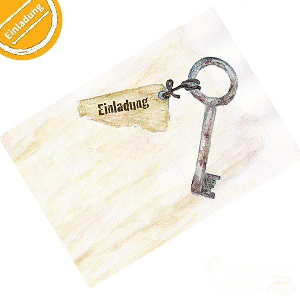 """Buntstift-Illustration: Verrosteter Schlüssel. An ihm hängt ein vergilbter Zettelrest mit der Aufschrift """"Einladung"""". Symbol oben links: Halber Kreis mit Text """"Einladung""""."""