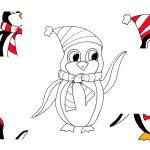 Pinguin Ausmalbild und verstreute Einzelteile.