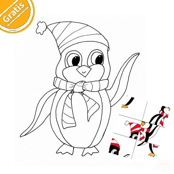 Ausmalbild Pinguin. Er trägt eine gesreifte Mütze mit Bommel und einen gestreiften Schal.