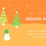 Grafik mit Tannenbäumen und Schneemann. Text: Zum Nikolaus - Advents-Angebot. vom 6.-26. Dezember 2020: Alle Schatzsuchen im Shop zum Adventspreis.