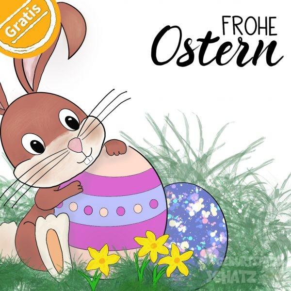 """Illustration kleiner Hase mit zwei bunten Ostereiern. Oben rechts steht """"Frohe Ostern"""", oben links ein Kreis mit """"Gratis""""."""